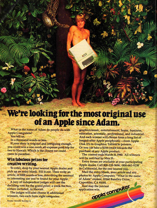 "1979 Apple II ""Adam"" Ad. ""What in the name of Adam do people do with Apple computers?"""