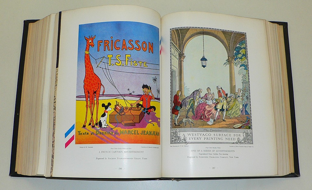 Left: M. Jeanjean cartoon advertisement. Right: illustration by T.M. Cleland for Westvaco