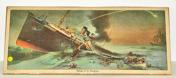 """""""The Sinking Of The La Bourgogne"""" Lithograph 1898."""