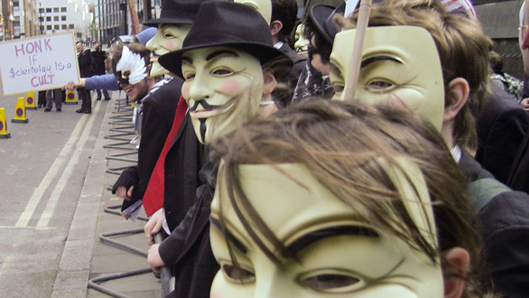 Anonymous members at the 2008 London Scientology protest