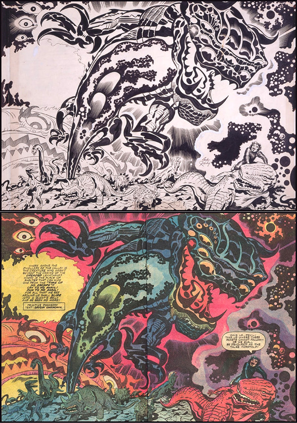 Devil Dinosaur #4, 1978. Jack Kirby: pencils, Mike Royer: inks and letters.