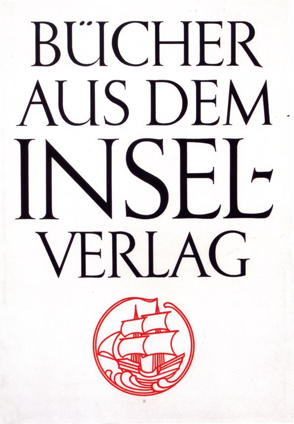 Bücher aus dem Insel-Verlag. Poster by Jan Tschichold for Insel-Verlag (1926). Handlettered.