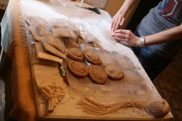 Pies being packaged (photo by Q.T. Kogel)