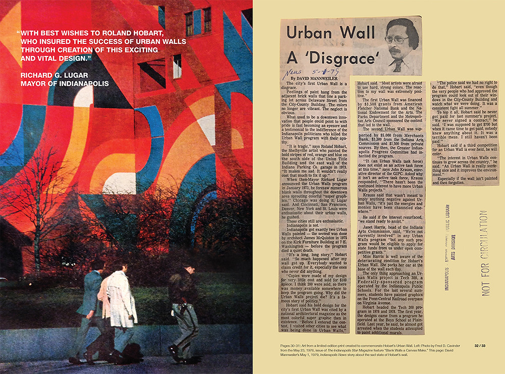 Spread from issue 9 showing Hobart's wall in its heyday, and a newspaper critique of its subsequent decline.