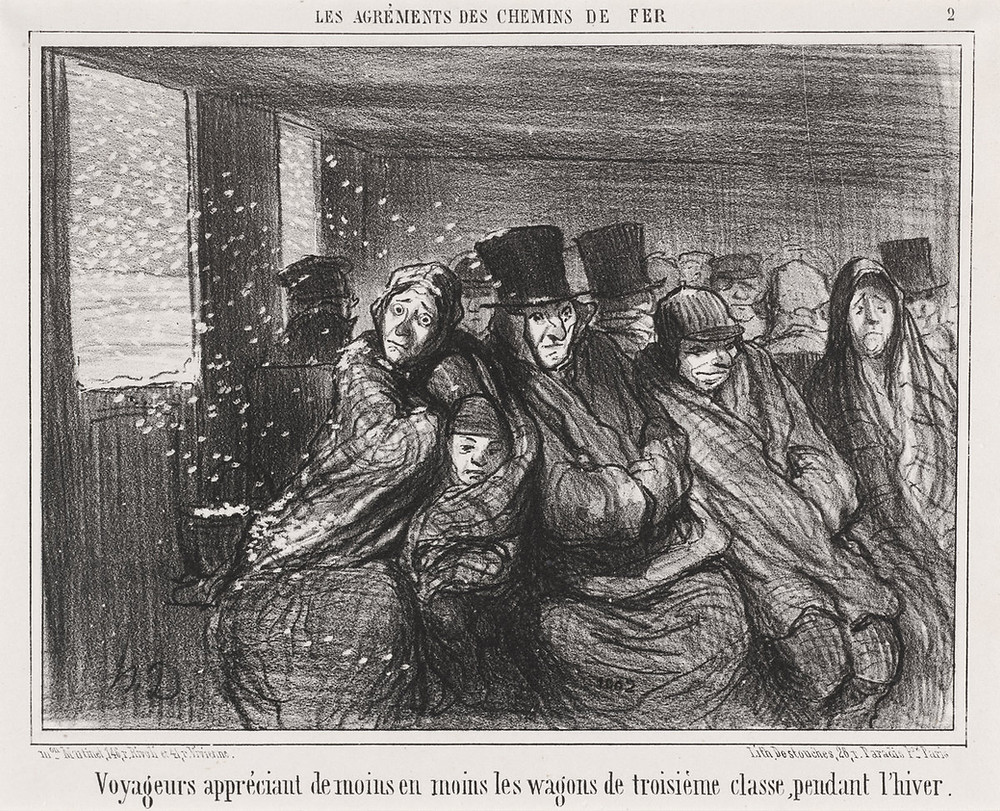 Honoré Daumier, Voyageurs appréciant de moins en moins les wagons de troisième classe..., French, 1808 - 1879, published 1856, lithograph on wove paper, Ailsa Mellon Bruce Fund. Image from National Gallery of Art