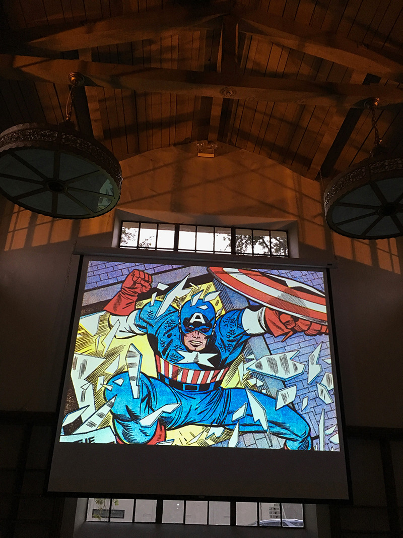 The view from the audience as Arlen Schumer addresses the Society of Illustrators of Los Angeles. photo: M Dooley