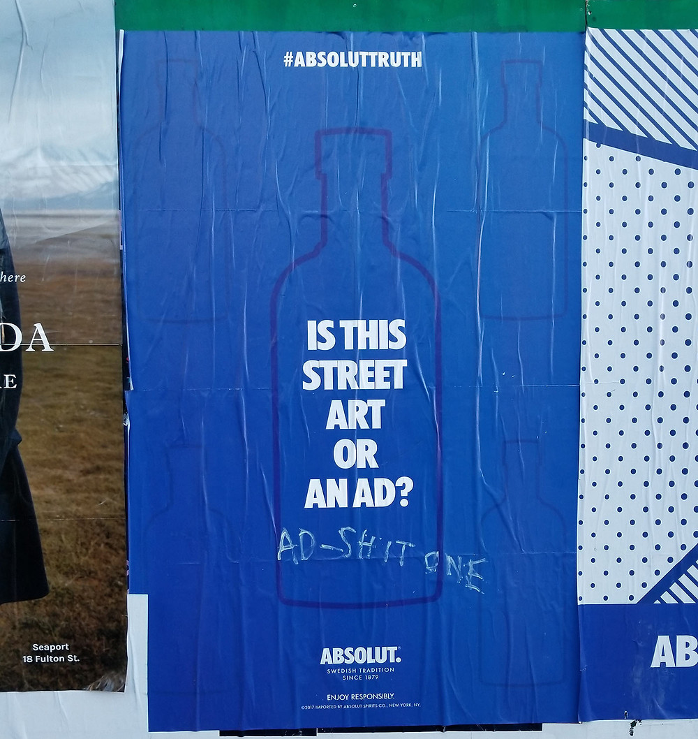 is this street art or an ad? #absoluttruth