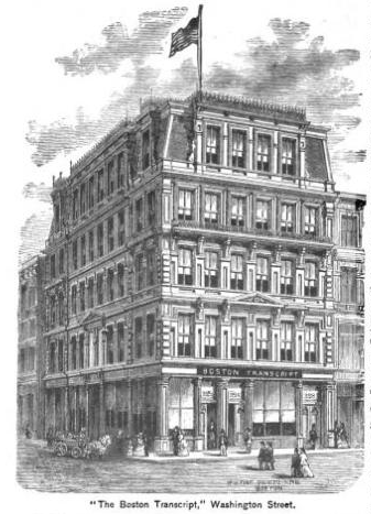 "Home of ""The Boston Evening Transcript."" From ""King's Hand-book of Boston: Profusely Illustrated By Moses King,"" 1881."