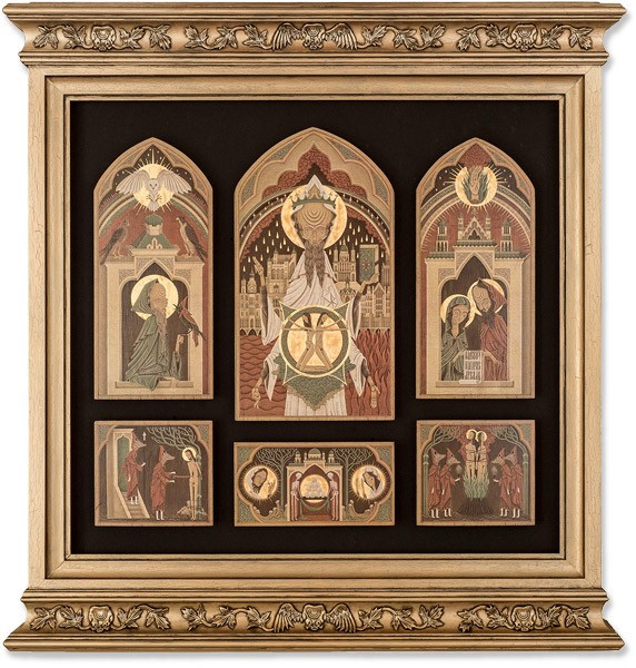 Framed altarpiece for the V&A 'Memory Palace' Exhibition by Herman Inclusus