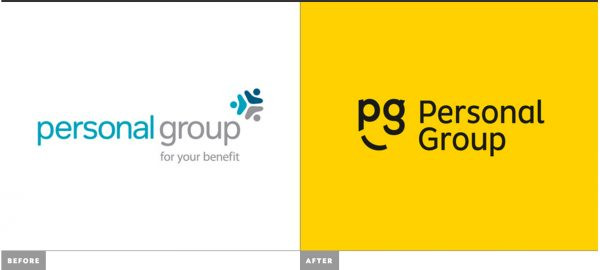 Personal Group's new yellow logo
