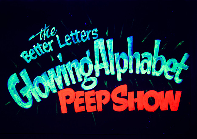 Glowing alphabet peep show