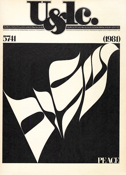 Shalom is the Hebrew word for peace, completeness and well being (and hello and goodbye). The fluid characters were submitted by Stan Brod and hand-lettered in the studio. Design: Herb Lubalin, production: Jason Calfo.
