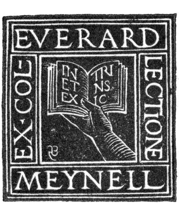 Hand Holding a Book, 1916; bookplate for Everard Meynard.