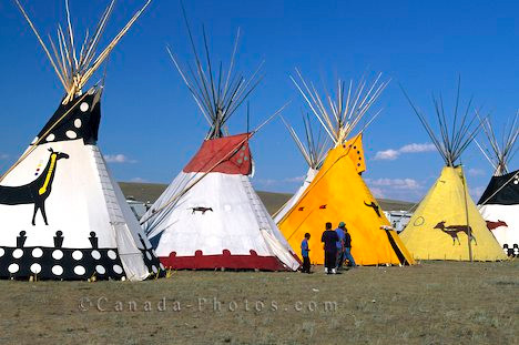 Teepees lined up during the Siksika Pow Wow held in Alberta, Canada