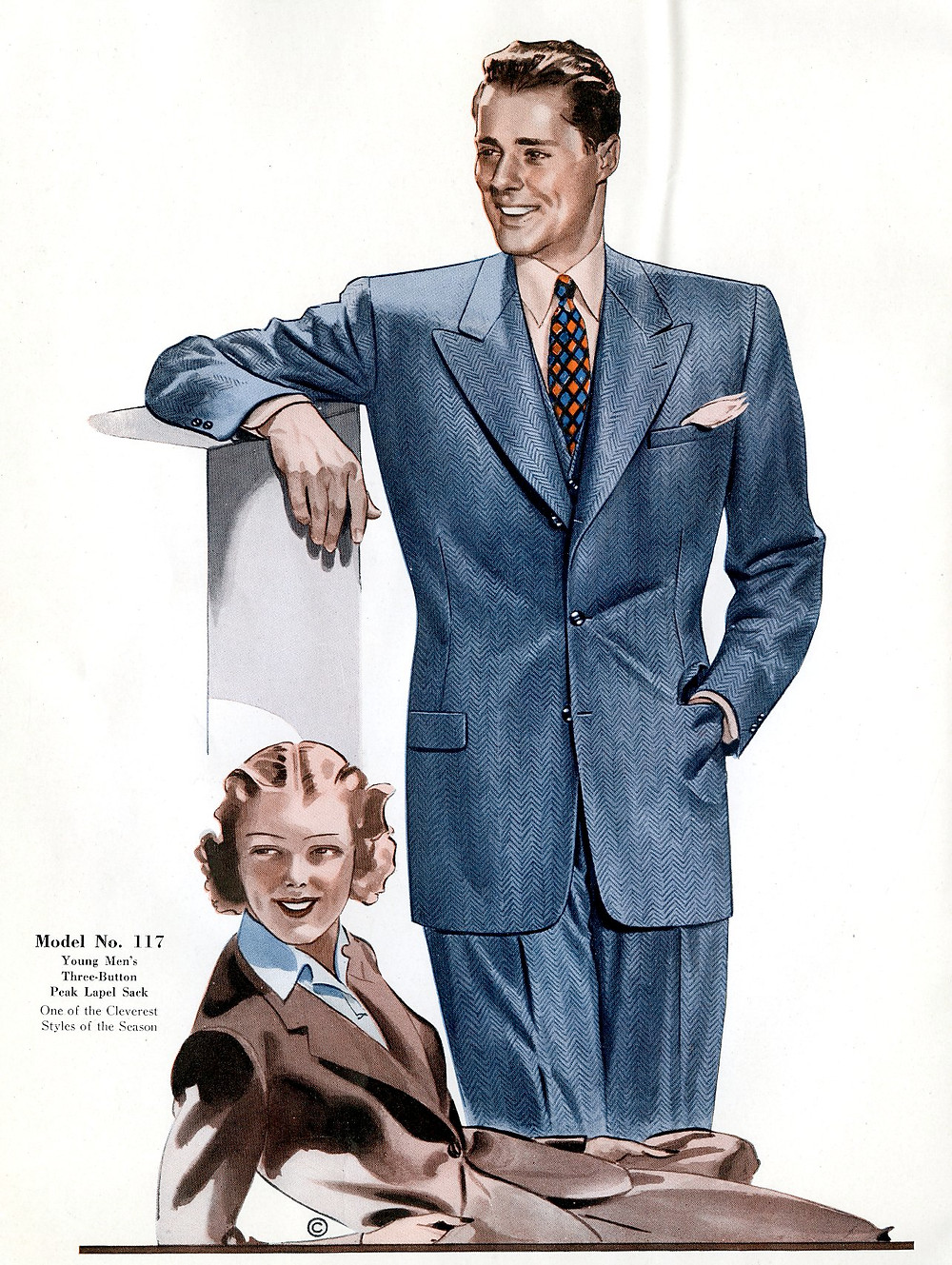 1940s fashion suits for women and men