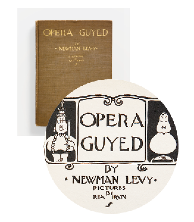 "Cover and frontispiece from a 1923 book of humorous opera poems; throughout its evolution, the type has had no lower-case, although exceptions are made for the small c in ""Mc"" and ""Mac."""