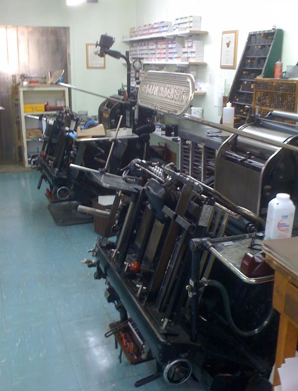 A few of the presses at Full Circle Press