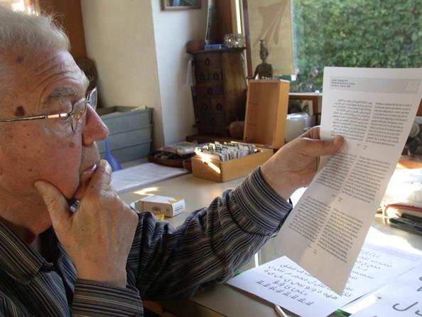 Adrian Frutiger checking on the progress of Frutiger Arabic