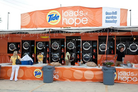 """The Tide """"Loads of Hope"""" truck provides free laundry to displaced people. Are they meeting a basic human need? (photo from http://www.velveteenmind.com)"""