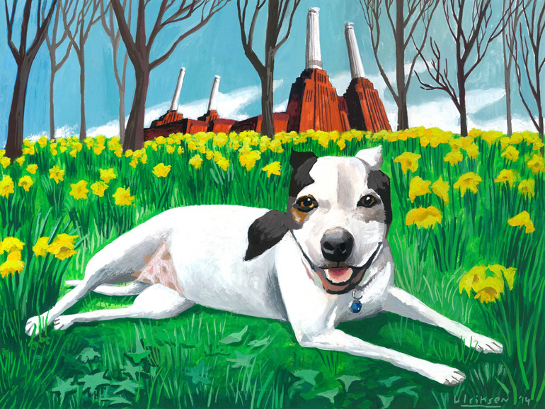 """Daisy of London,"" a dog portrait painted by Mark Ulriksen for a donor."