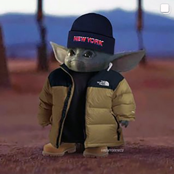 Baby yoda with New York hat on