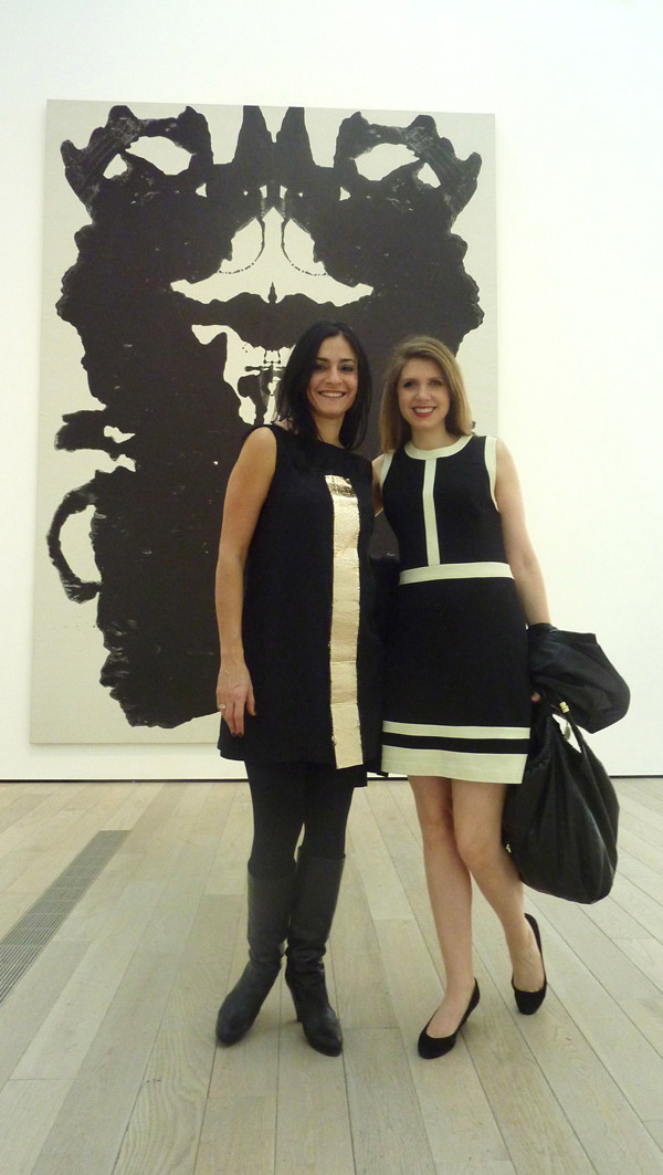 Kalliopi Minioudaki and Allison Unruh in front of an Andy Warhol piece at the L.A. County Museum of Art.