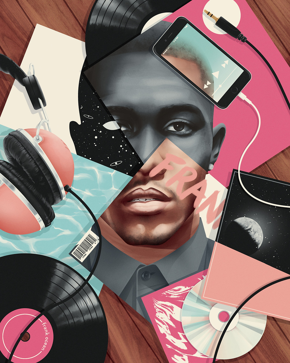 Illustration of Frank Ocean by Jack Hughes for the Village Voice