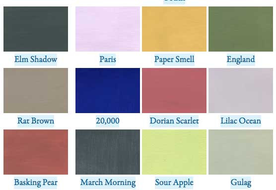 Literary Paint Chips from The Paris Review - more literary color as data