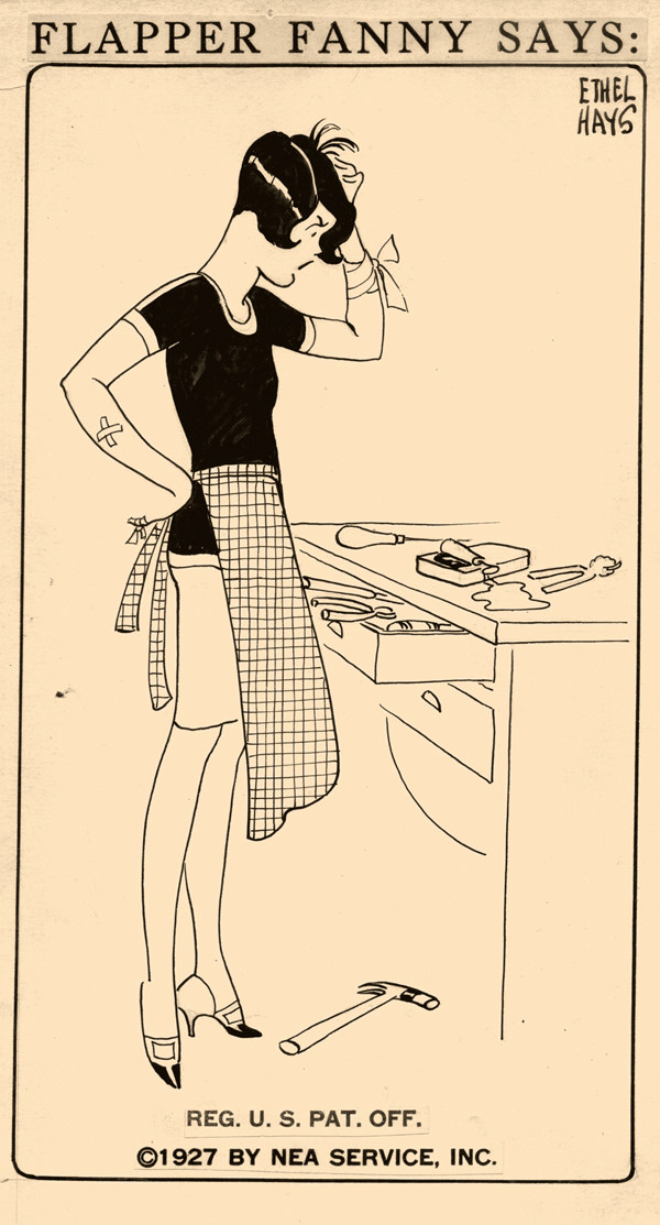"Flapper Fanny by Ethel Hays, 1927 ""If you don't believe fish is a brain food, try opening a can of sardines."""
