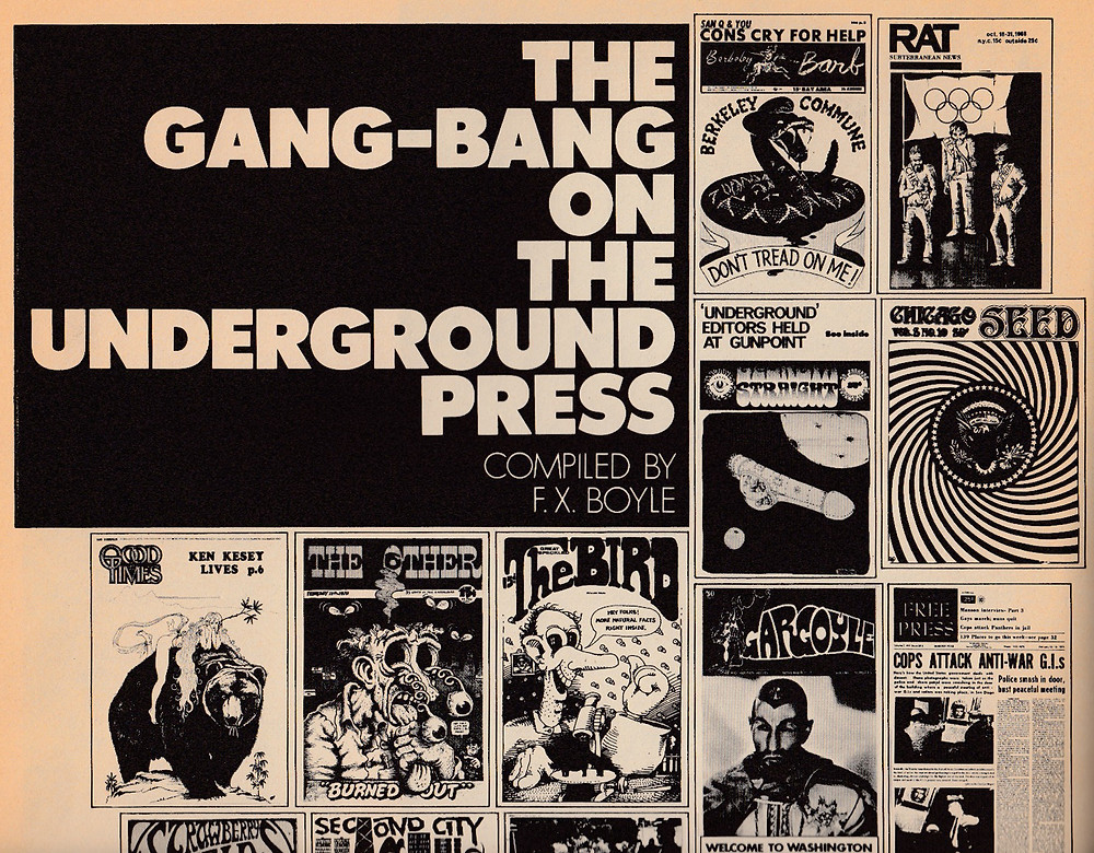 A portion of a page from Avant Garde magazine on the American underground press.