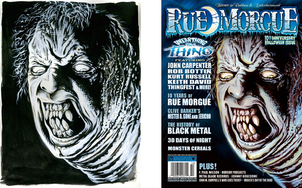 'The Thing' sketch (L) and final (R) for Rue Morgue #72 by Gary Pullin