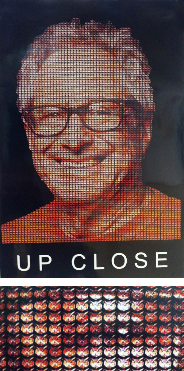 "JW. Zumwinkle: ""JW's Up Close is stylistically similar to a Chuck Close drawing but created with small owls."" [below: section enlargement]; Robbie Conal Poster Roast"