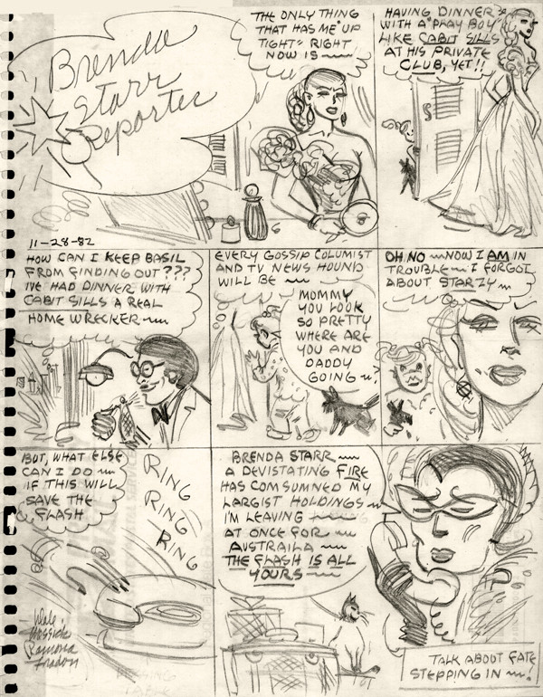 Brenda Starr concept page by Dale Messick, 1982