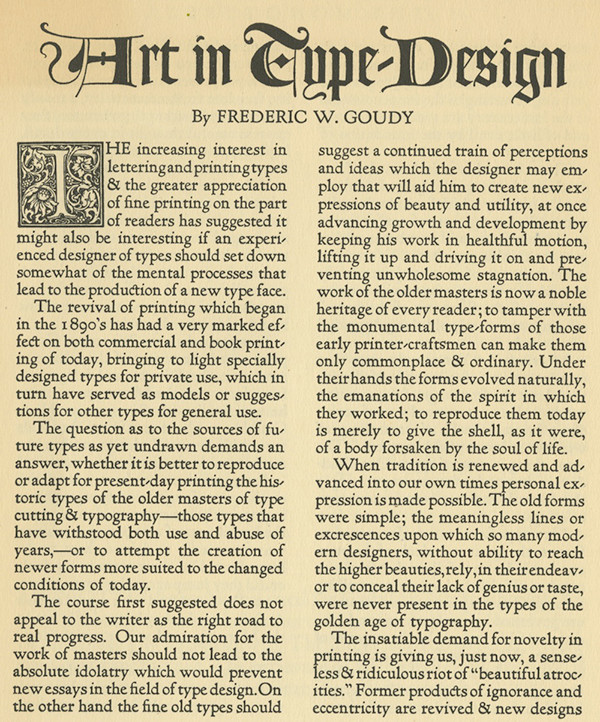 The first page of Goudy's essay on type design