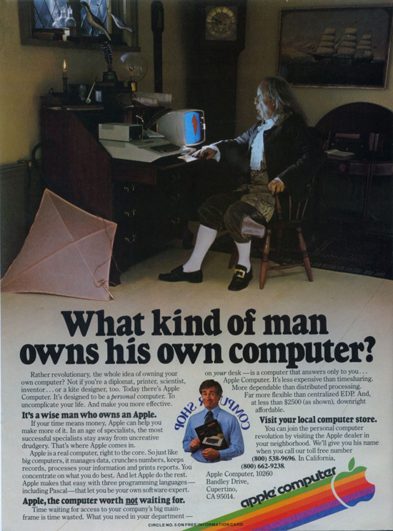 "1980 Apple II Ben Franklin Ad. ""It's a wise man who owns an Apple."""