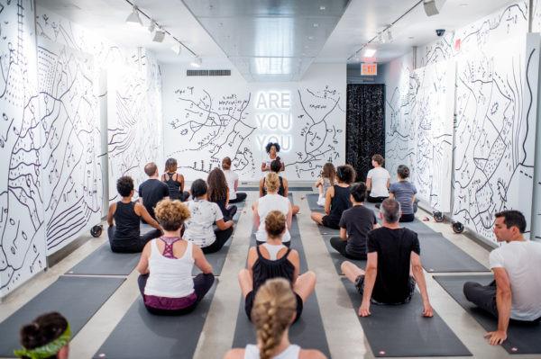 Shantell Martin's work envelopes a yoga class