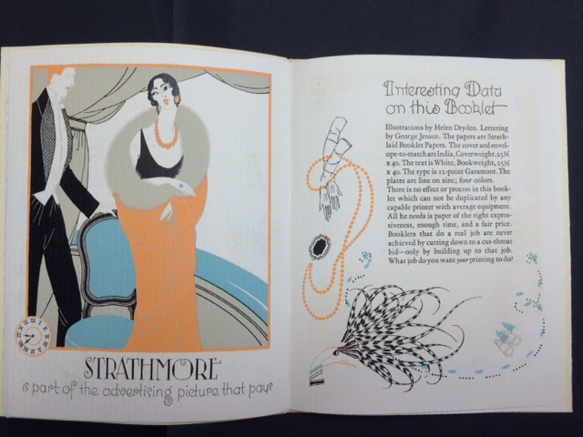 Interior spread from Orginations by Fashion paper promotion (1925). Illustration by Helen Dryden with lettering by George Jensen. (Courtesy of Mohawk Fine Papers.)