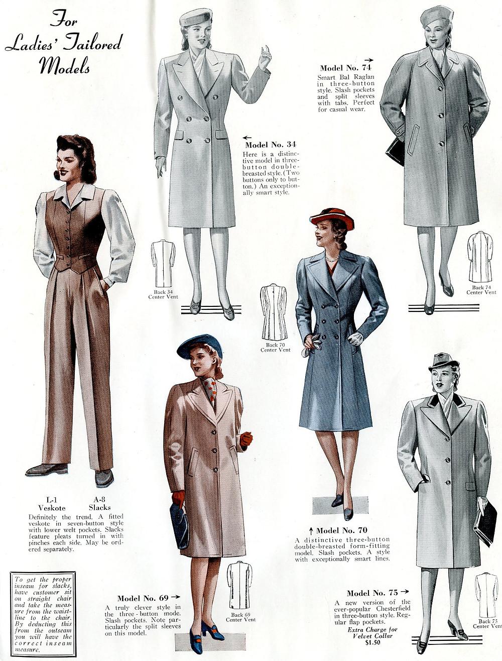 1940s fashion coats for women