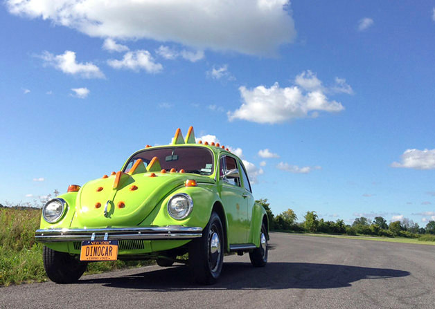 Ryan McGuire turned his 1971 Volkswagen Super Beetle into a dinosaur car using foam and fiberglass.