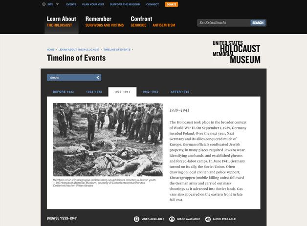 ushmm-timeline_628; website redesign