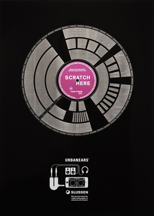 To promote the new DJ mobile app, Urban Ears, Denmark-based Uncle Grey created this poster made out of vinyl that emulates a DJ scratch when scraped with a fingernail.