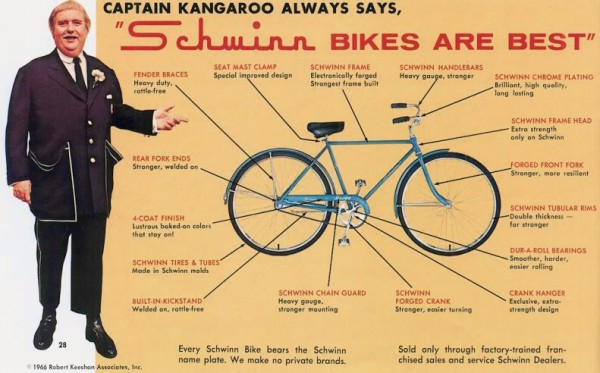 Anyone who grew up watching Captain Kangaroo  in the morning remembers that he was the spokesman (there's that pun again) for Schwinn.