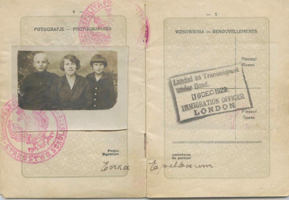 Podwal's mother's passport
