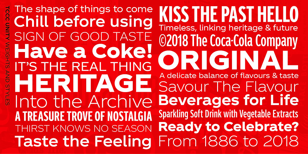The bespoke Coca Cola font was revealed in 2018