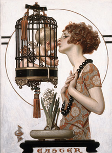 J. C. Leyendecker, Woman Kissing Cupid, 1923. Oil on canvas, 27-1/2 x 22-1/4 inches.