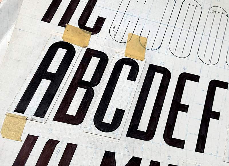 Industria Italic—1984 drawings for a font that has never been produced.