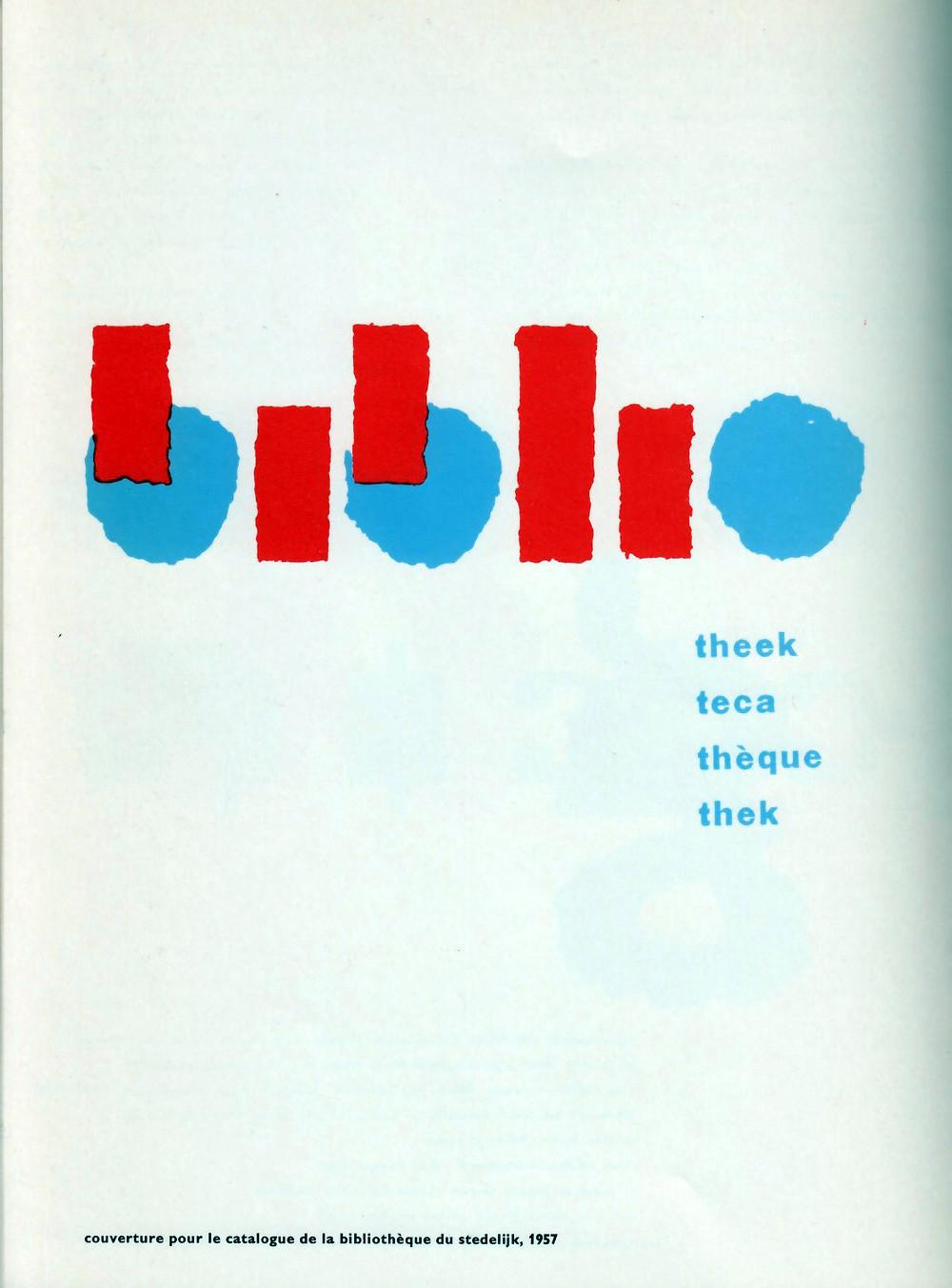 Cover for the catalogue de la Biblioteque due Stedelijk, 1957.