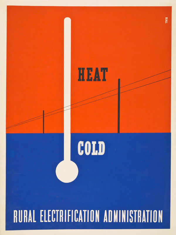 "Lester Beall: ""Heat-Cold"" screenprint poster for the Rural Electrification Administration, 1937. 40 x 30 1/4 in."