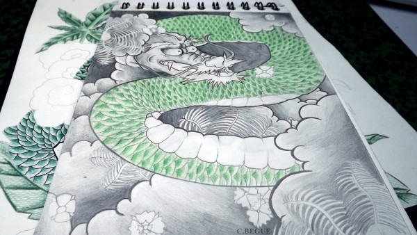Green Dragon by Cécile Bègue via Behance: http://bit.ly/1u6JvCi