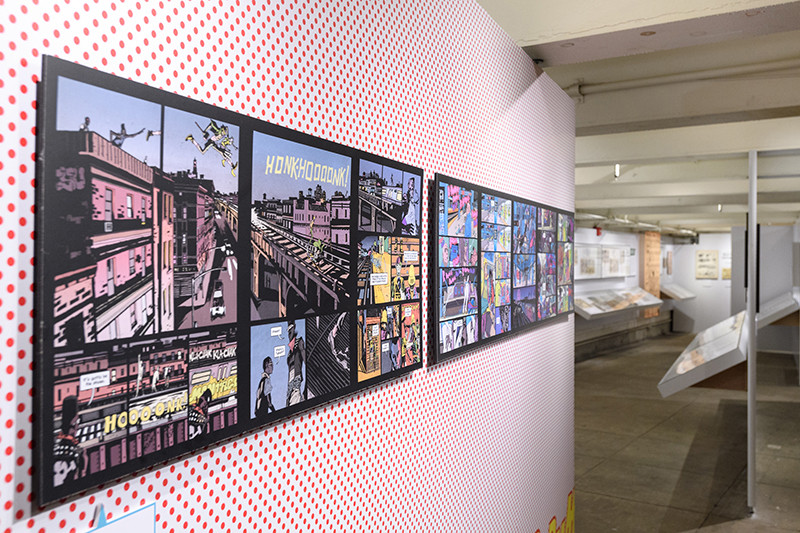 left: Ronald Wimberly: Prince of Cats, 2016. photo by Filip Wolak, courtesy of the New York Transit Museum